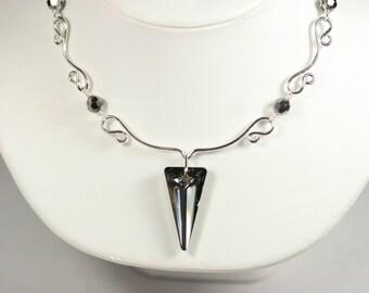 Dark Grey Swarovski Crystal Necklace Wire Wrapped Jewelry Handmade Sterling Silver Jewelry Handmade Swarovski Crystal Jewelry