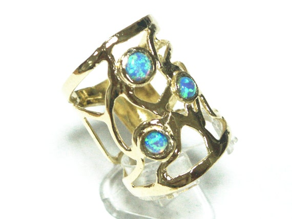 filigree 14k 14ct gold plated ring gp 3 blue opal womens ladies fashion new design style, gold plated ring, gold opal ring, blue opal ring