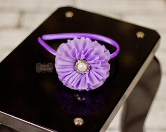 MORE COLORS-Boutique Style-Purple-Lavender Headband-Chiffon-Shabby Chic Headband- Teen-Back to School-Spring Headband-Rhinestone Headband