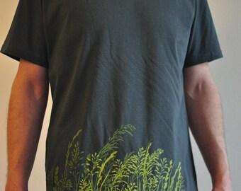 Wild Grass Silkscreen on Man Charcoal T-shirt, Vintage Wash - Organic & Fairtrade