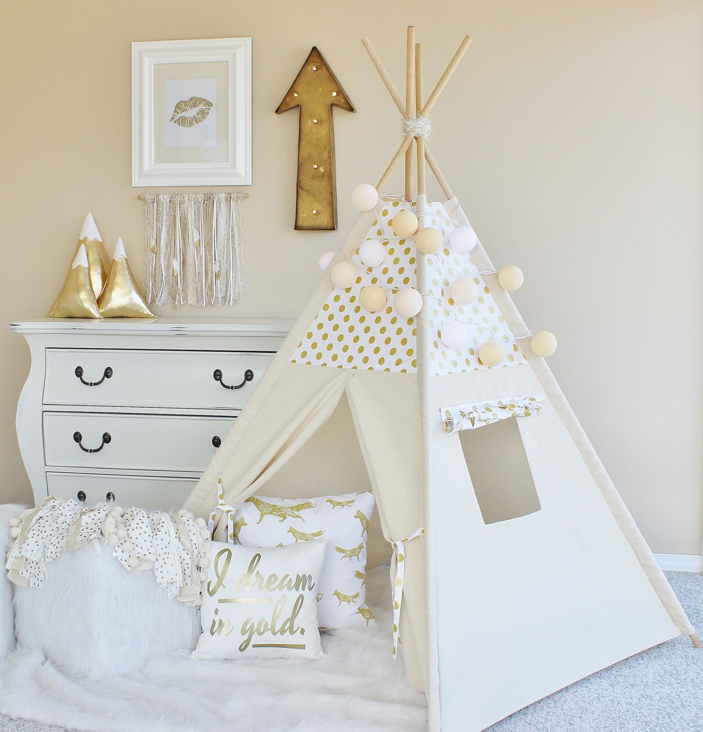 white with gold glamour polka dot canvas teepee play tent. Black Bedroom Furniture Sets. Home Design Ideas