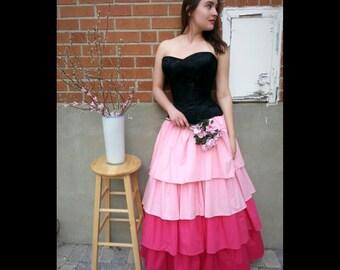 Steampunk Skirt, Pink Ombre Skirt, Victorian Skirt, Ruffle Skirt, Steampunk Costume, Layered Skirt, Maxi Skirt, Alternative Prom Dress