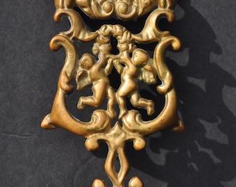 Vintage Solid Brass Trivet, Angels Cupids, Victorian Art Nouveau Styling, Wilton Pot Holder, Ornate Scrolled French Brass Trivet, MINT!