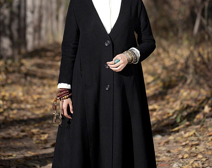 Long cashmere coat - Coat classic fall/winter - Big V neck - Long sleeves coat - Made to order