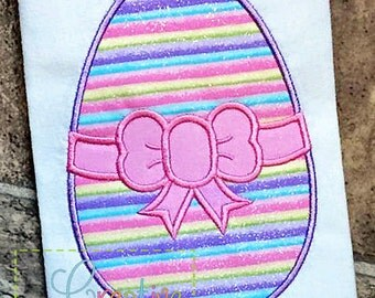 Easter Egg Bow Applique Machine Embroidery  Design 4 Sizes