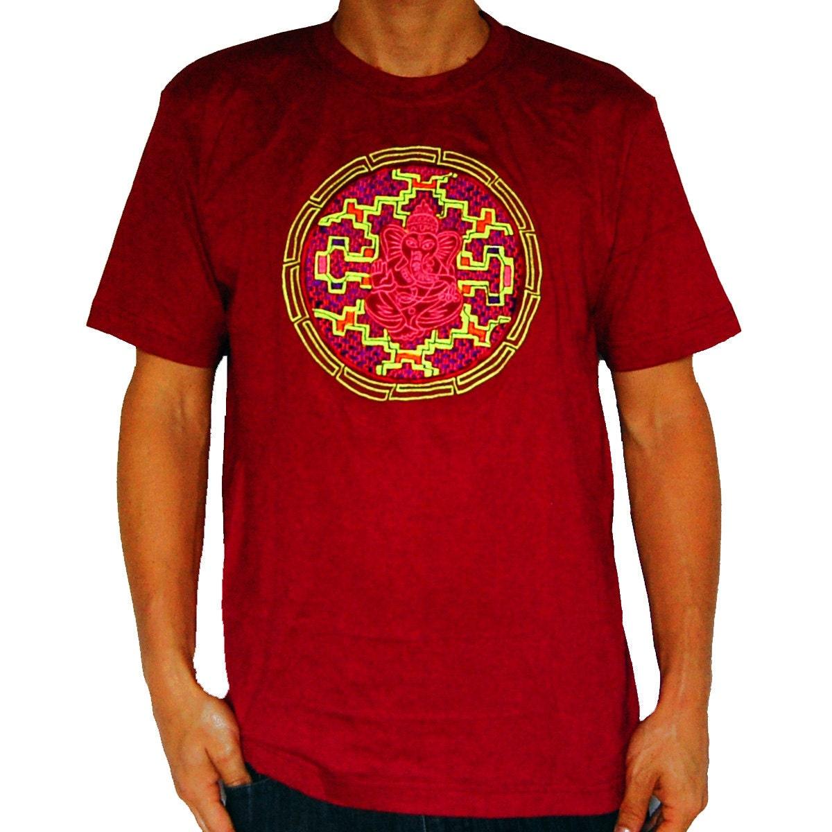 Ganesha Ayahuasca T-Shirt blacklight shipibo conibo embroidery