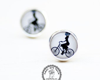Bicyclist Lady on Bicycle Stud Earrings - Photo Post Earrings with Bicycle - Bicyclist Gift for Women Bicycle Lover - Bike Lover Girl Gifts