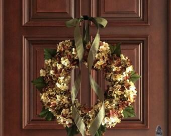 Fall Wreath | Hand Blended Hydrangea Wreath | Front Door Wreaths | Wreath | Ootdoor Wreah | Housewarming Gift