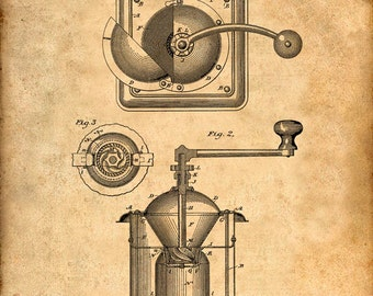Patent Print of a Coffee Mill Patent From 1885 - Art Print - Patent Poster - Kitchen Art - Kitchen Decor - Coffee Art - Coffee House
