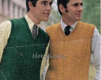 Mens Knitting Pattern Mens Cable Panel Slipover Knitting Pattern 1960s Mens Sleeveless Sweater DK Slipover 40-44inch DK / 4 Ply PDF Download
