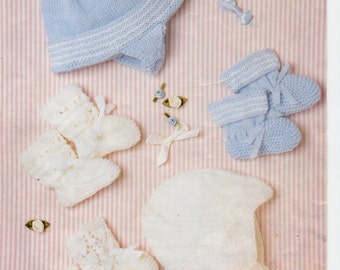 baby 4ply hats helmet bootees booties knitting pattern pdf Newborn -12 Months 4 ply baby knitting pattern PDF Instant Download