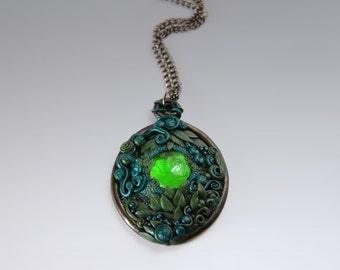 """Spring jewelry necklace -  pendant with green leaves and glass cabochon - """"Equinox Spirit"""" /MADE TO ORDER/"""