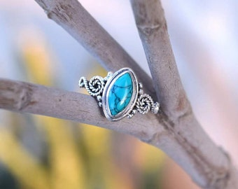 Turquoise Ring, Silver Turquoise Stone  Ring, Sterling Silver Turquoise stone Ring Size 4 5 6 7 8 9