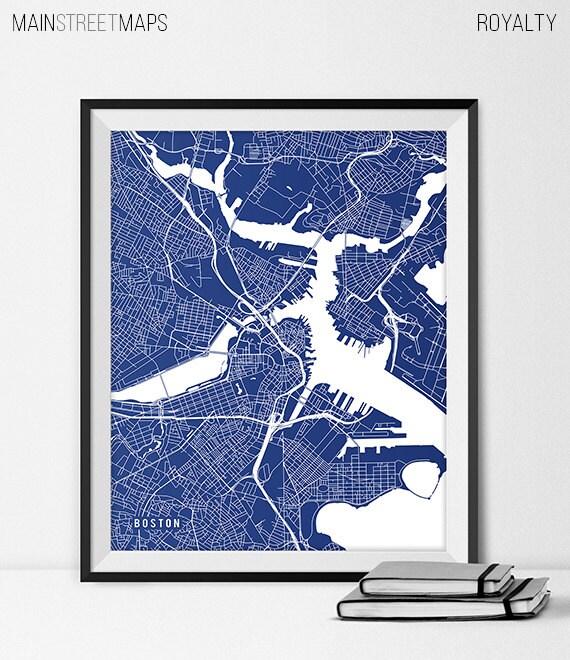 Boston Map Art Print Boston City Map of Boston Art Poster of