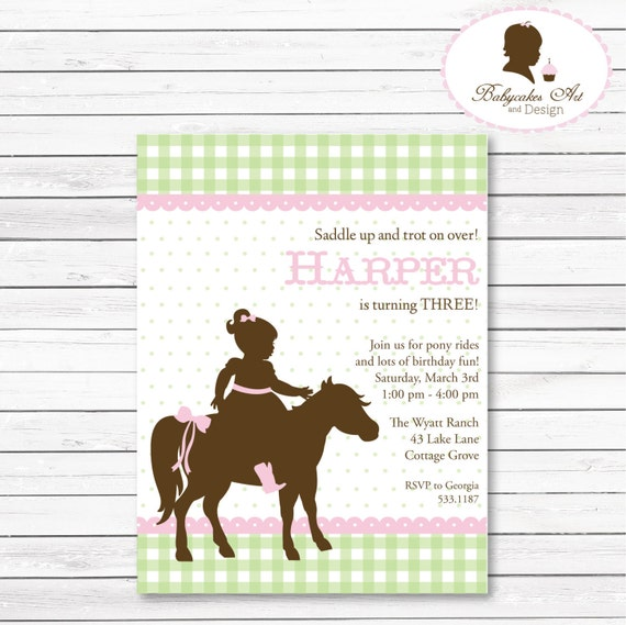 items similar to diy pony party birthday invitation, horse, Party invitations