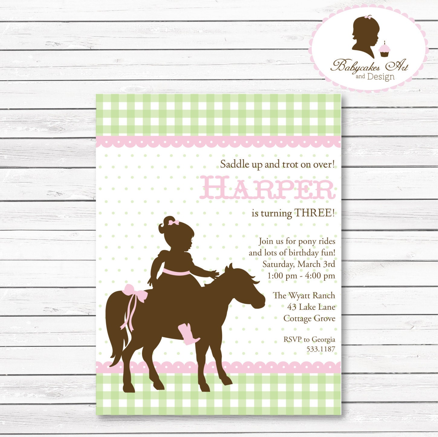 DIY Pony Party Birthday Invitation Horse Birthday Invitation