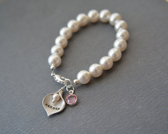 Kids Jewelry,Flower Girl Bracelet, Flower Girl Gifts, Flower Girl Bracelet,Flower Girl Pearl bracelet,Name Bracelet,Wedding, Gifts for Girls