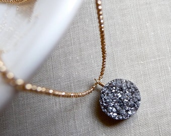 Druzy Necklace, Round Druzy Necklace, Titanium Silver Metallic Pendant, Gold Filled Chain Necklace, Druzy Jewelry, Minimal Jewelry