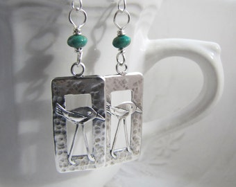 summer outdoors. silver bird earrings. SHOREBIRD. Kingman turquoise silver earrings. beach earrings. teal green earrings. natural stones.