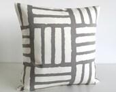 Decorative Pillow Cover, 16 Inch Cushion Cover, Scandinavian Pillow Sham, 16x16 Throw Pillow, Pillowcase, Pillow Case - 4 Bars Taupe Grey