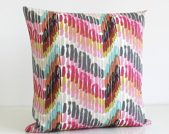 Toss Pillow Cover, Zigzag Pillow Case, 16 Inch Scatter Cushion, Pillow Sham, Cushion Cover, Throw Pillow, Pillow Cover - Optic Raspberry