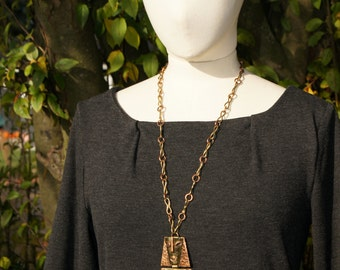 Mexican Mixed Metals Mayan Pendant Necklace