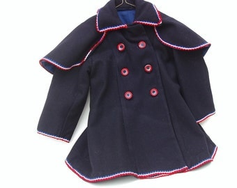 Vintage Baby Clothes / Baby Girl Coat / Wool Overcoat / Double Breasted Swing Coat / Red White Blue Coat - Handmade Baby Clothes - As Is