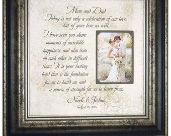 Parents Wedding Gift, Personalized Picture Frame, Wedding Quote for Parents