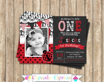 Ladybug first Birthday Invitation DIY  PRINTABLE Photo chalkboard Invitation 5x7 4x6 red black lady bug personalized polka dot
