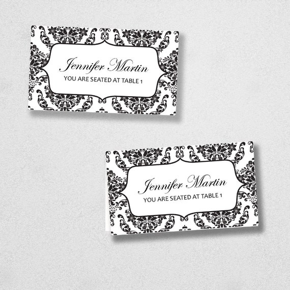Printable Place Card Template - INSTANT DOWNLOAD - Escort Card - For Word and Pages - Mac and PC - Flat or Folded - Damask Design