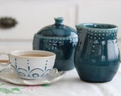 Sugar and Creamer Set - Custom Color Choice - Blue, Green, White, Yellow, Red - French Country Dinnerware - MADE TO ORDER