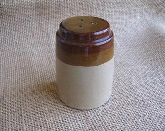 """Brown Ceramic Salt Shaker, Rustic Country Salt Shaker, 3 1/8"""" Rustic Salt Shaker, Brown Kitchen Decor"""