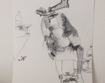 She Was a Nice Man original outsider art pencil drawing by Melanie Knox