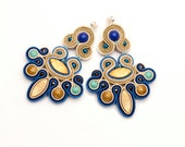 Chandelier bohemian earrings gold, navy, turquoise, blue. Statement earrings soutache. Unique gift for boho women. Festival earrings fancy.