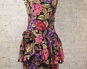 80s Awesome Sexy Floral Strapless Dress