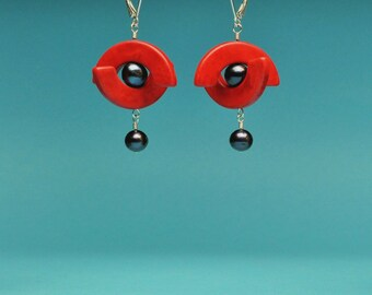Red Half Circles with Pearl Earrings