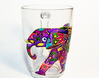 Custom Coffee Mug, Elephant Design Gift Mug, Glass Cup for Bridesmaid, Mug Gift