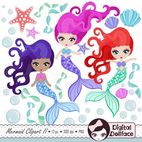 Cute Mermaid Clipart Mermaid Party Printable Scrapbook
