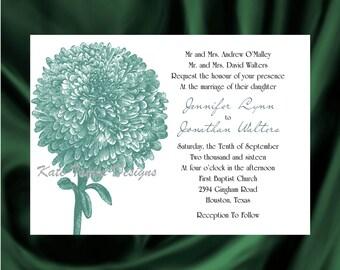 Mum Flower Wedding Invitation & RSVP  - Floral Wedding Invitation and RSVP -  Flower Design 39