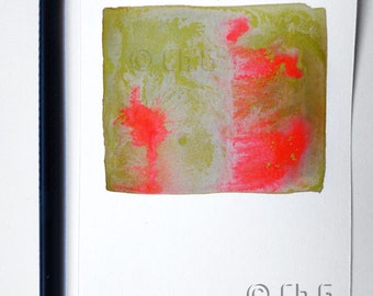 Square Art_ Original modern painting_Small size_ Green and red orange colors_Abstract Watercolor