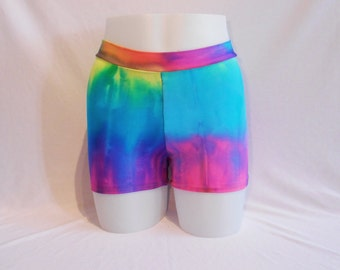 Booty Shorts - Tie Dye Lycra - Roller Derby - Yoga - Mid Rise waist - Plus Size Available