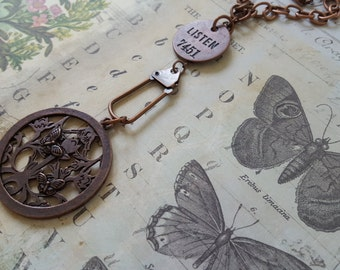 """Copper Inspirational, Woodland, Found Object Necklace: Flowers & Butterflies Filigreed Disk;Tim Holtz """"LISTEN"""" Philosophy Tag + Swivel Clasp"""