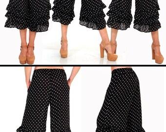 Polka Dot Bloomer Ruffle Pants/Black and White/ P-M/L-XL