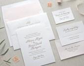 RESERVED for Sarah: Letterpress Wedding Invitation - Magnolia Design
