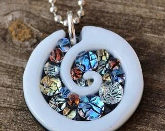 Vibrant Spiral // Dichroic Fused Glass Pendant // StephGlass Original Art