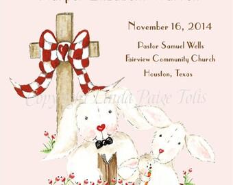 Girl Dedication Certificate-Pink Bunnies-Dedication Certificate-Personalized Gift