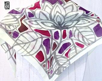 Silk scarf Square, Gift for her, Gift for Women, Handpainted Lemon Japanese Hana Vine Scarf, Gray Scarf, Silk Scarves Takuyo, 22x22 inches.
