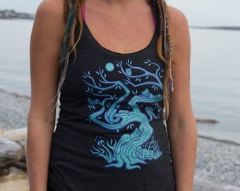 Woodland Tree Tank Top Black Unique Cute Festival Clothing Womens American Apparel Workout Tri-Blend Racerback Sizes (XS S M L)