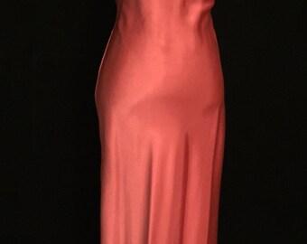 Tangerine Liquid Satin Halter Gown              VG39