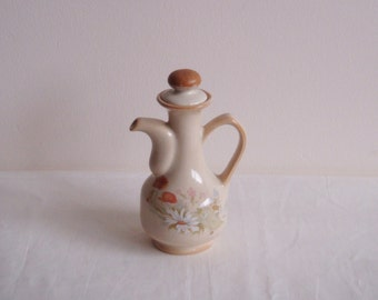 Country Style Handpainted Pitcher With Stopper, Vintage Pottery